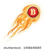 bitcoin takeoff   flaming... | Shutterstock .eps vector #1408648085