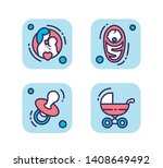 newborn toddler care line icons ...