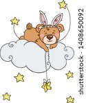 teddy bear with rabbit ears and ... | Shutterstock .eps vector #1408650092