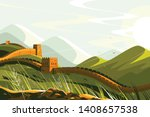 great wall of china vector... | Shutterstock .eps vector #1408657538