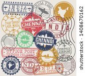 chennai india set of stamps.... | Shutterstock .eps vector #1408670162