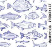 Seamless Pattern With Fish Hand ...