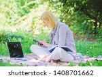 woman with laptop sit grass... | Shutterstock . vector #1408701662