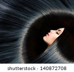 hair. healthy long black hair.... | Shutterstock . vector #140872708
