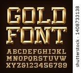 gold alphabet font. 3d gold... | Shutterstock .eps vector #1408733138