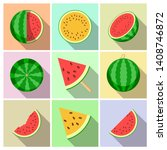 watermelon. whole fruit and... | Shutterstock .eps vector #1408746872