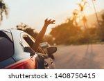 hatchback car travel driving... | Shutterstock . vector #1408750415