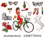 Italy set with fashion girl and sketch accessories. Young girl in red dress on green bicycle. Collection of illustrations of cosmetics, map of Italy and other Italian symbols.