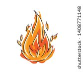 cartoon flame   isolated fire... | Shutterstock .eps vector #1408771148