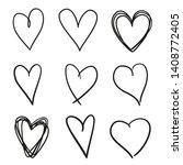 hand drawn grunge hearts on... | Shutterstock . vector #1408772405