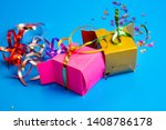 birthday gifts  colored boxes ...   Shutterstock . vector #1408786178