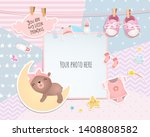 baby girl shower card. teddy... | Shutterstock .eps vector #1408808582