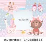 baby girl shower card. teddy...   Shutterstock .eps vector #1408808585