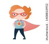 little girl   superhero. vector ...   Shutterstock .eps vector #1408810952