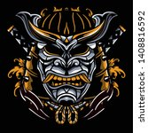 ronin tattoo design. masks... | Shutterstock .eps vector #1408816592
