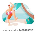 man with swim ring with...   Shutterstock .eps vector #1408823558