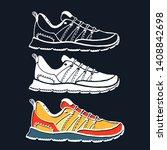 running shoe icon set. sneaker... | Shutterstock .eps vector #1408842698