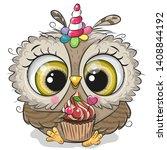 cute cartoon owl with the horn... | Shutterstock .eps vector #1408844192