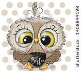cute cartoon owl with a black... | Shutterstock .eps vector #1408844198