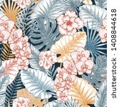 exotic wild flowers and leaves... | Shutterstock .eps vector #1408844618