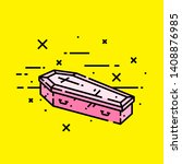pink halloween coffin line icon....   Shutterstock .eps vector #1408876985