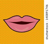 mouth design over dotted... | Shutterstock .eps vector #140891746