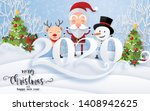 merry christmas greetings and... | Shutterstock .eps vector #1408942625