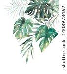 Watercolor Tropical Leaves...