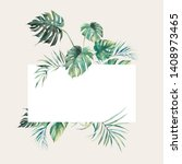 watercolor tropical flora frame.... | Shutterstock . vector #1408973465