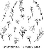 a set of lavender in black and... | Shutterstock .eps vector #1408974365