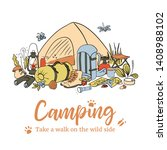 camping poster template. take a ... | Shutterstock .eps vector #1408988102