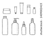 empty cosmetics containers ...   Shutterstock .eps vector #1409002415