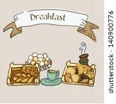 breakfast with bread  eggs ... | Shutterstock .eps vector #140900776