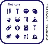 nut icon set. 16 filled nut... | Shutterstock .eps vector #1409011418