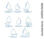 abstract set of blue water drop ...   Shutterstock .eps vector #1409013608
