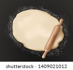 rolled pastry dough and rolling ... | Shutterstock .eps vector #1409021012