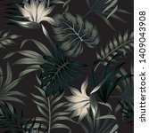 tropical floral foliage dark... | Shutterstock .eps vector #1409043908