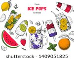 popsicle ice cream  hand drawn... | Shutterstock .eps vector #1409051825