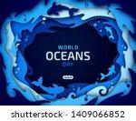 world oceans day  paper art.... | Shutterstock .eps vector #1409066852