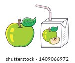 apple fruit and juice box with... | Shutterstock .eps vector #1409066972