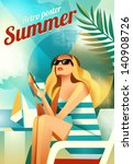 Retro poster with a girl sitting on the beach. Vector   Shutterstock vector #140908726