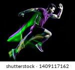 one caucasian runner running... | Shutterstock . vector #1409117162