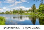 scenic summer landscape with a... | Shutterstock . vector #1409128208
