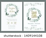 greenery wedding invitation ... | Shutterstock .eps vector #1409144108