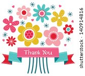 vector thank you card with... | Shutterstock .eps vector #140914816