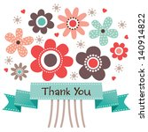 thank you card with retro style ... | Shutterstock .eps vector #140914822