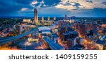Aerial panorama of Albany, New York downtown at dusk. Albany is the capital city of the U.S. state of New York and the county seat of Albany County