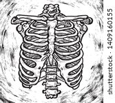 a human rib cage. hand drawn...   Shutterstock .eps vector #1409160155