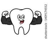 cartoon flexing muscular tooth...   Shutterstock .eps vector #1409174552