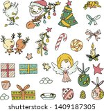 set of cute hand drawn cartoon... | Shutterstock .eps vector #1409187305